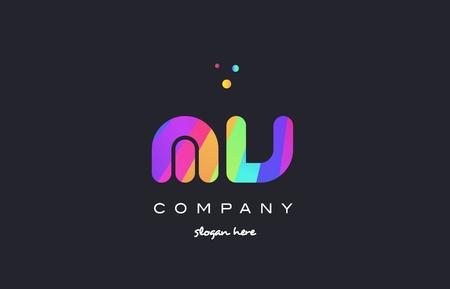 mv m v  creative rainbow green orange blue purple magenta pink artistic alphabet company letter logo design vector icon template