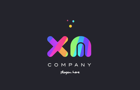 xm: xm x m  creative rainbow green orange blue purple magenta pink artistic alphabet company letter logo design vector icon template