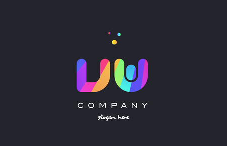 vw: vw v w  creative rainbow green orange blue purple magenta pink artistic alphabet company letter logo design vector icon template