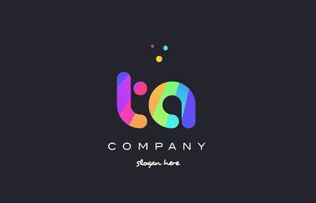 Ta ta créatif arc-en-ciel vert orange bleu violet magenta rose alphabet artistique entreprise lettre logo design vecteur icône modèle Banque d'images - 75808344