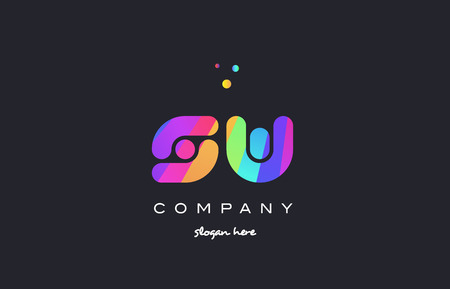 sw s w  creative rainbow green orange blue purple magenta pink artistic alphabet company letter logo design vector icon template