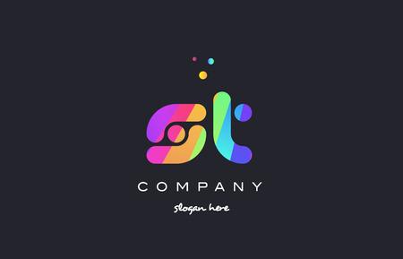 st s t  creative rainbow green orange blue purple magenta pink artistic alphabet company letter logo design vector icon template