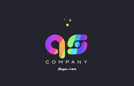 qs: qs q s  creative rainbow green orange blue purple magenta pink artistic alphabet company letter logo design vector icon template