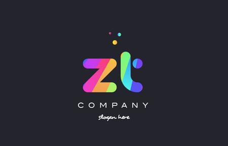 zt zt yaratıcı gökkuşağı yeşil turuncu mavi mor eflatun pembe sanatsal alfabe şirketi mektup logo tasarım vektör simgesi şablonu Çizim