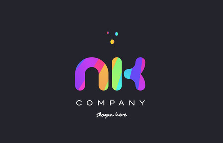 nk n k  creative rainbow green orange blue purple magenta pink artistic alphabet company letter logo design vector icon template