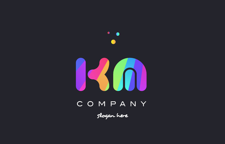 km k m  creative rainbow green orange blue purple magenta pink artistic alphabet company letter logo design vector icon template