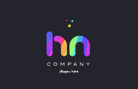 hn: hn h n  creative rainbow green orange blue purple magenta pink artistic alphabet company letter logo design vector icon template