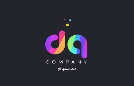 d: dq d q  creative rainbow green orange blue purple magenta pink artistic alphabet company letter logo design vector icon template Illustration