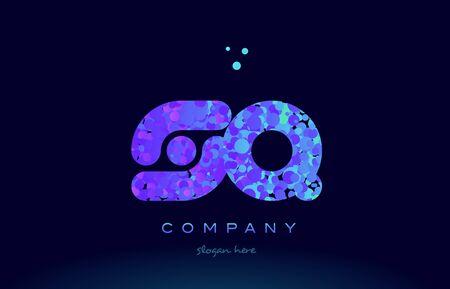 sq alphabet pink blue bubble circle dots logo icon design template