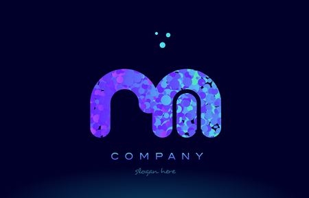 rm alphabet pink blue bubble circle dots logo icon design template