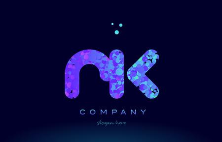 rk alphabet pink blue bubble circle dots logo icon design template