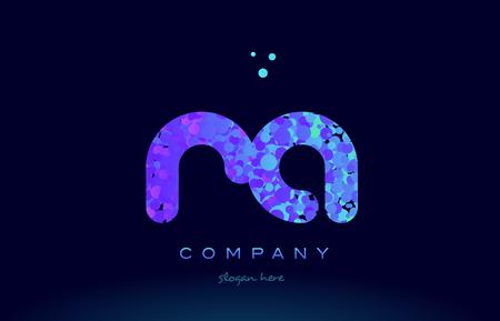 ra alphabet pink blue bubble circle dots logo icon design template