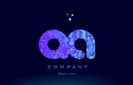 qa: qa alphabet pink blue bubble circle dots logo icon design template Illustration