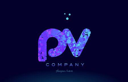 pv alphabet pink blue bubble circle dots logo icon design template Illustration