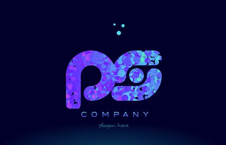 ps alphabet pink blue bubble circle dots logo icon design template