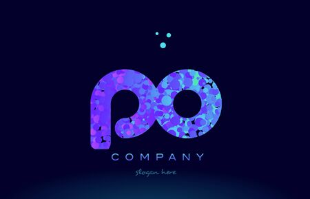 po: po alphabet pink blue bubble circle dots logo icon design template