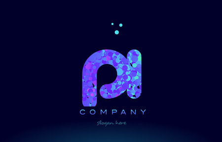 pi alphabet pink blue bubble circle dots logo icon design template Illustration