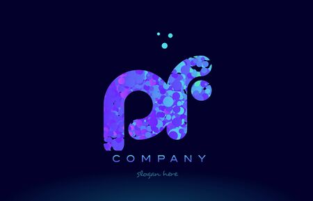 pf alphabet pink blue bubble circle dots logo icon design template