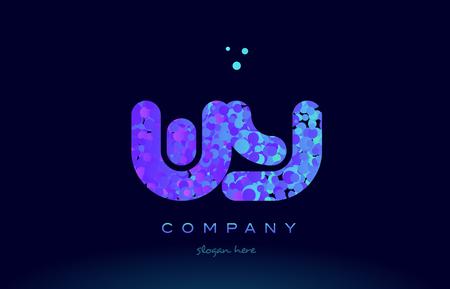 와우 알파벳 핑크색 파란색 동그라미 도트 로고 아이콘 디자인 템플릿 일러스트