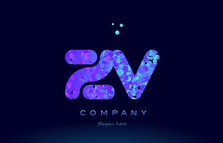 zv alphabet pink blue bubble circle dots logo icon design template