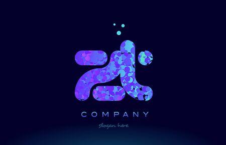 Zt alfabe pembe mavi kabarcık daire nokta logo simgesi tasarım şablonu Çizim