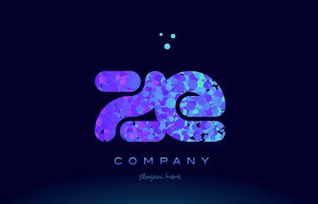ze: ze alphabet pink blue bubble circle dots logo icon design template Illustration