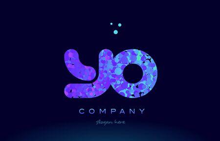 yo alphabet pink blue bubble circle dots logo icon design template