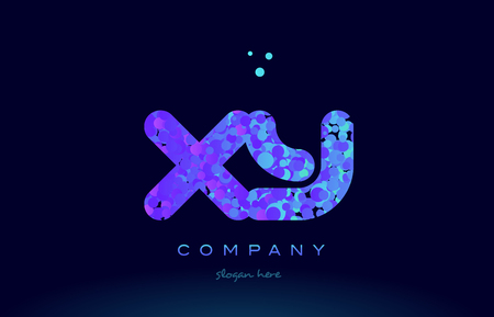 xy: xy x y alphabet pink blue bubble circle dots creative letter company logo vector icon design template