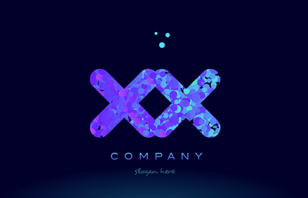 xx x x alphabet pink blue bubble circle dots creative letter company logo vector icon design template