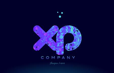 xp x p alphabet pink blue bubble circle dots creative letter company logo vector icon design template