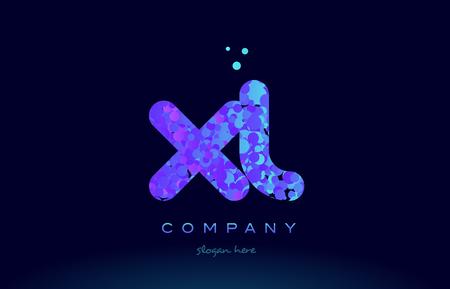 xl alphabet pink blue bubble circle dots logo icon design template