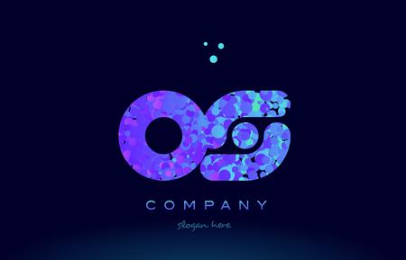 os alphabet pink blue bubble circle dots logo icon design template Illustration