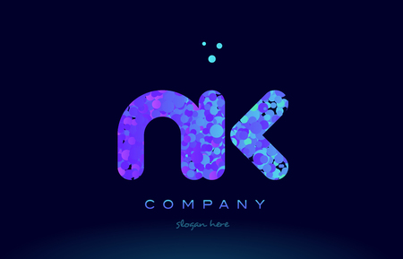 nk alphabet pink blue bubble circle dots logo icon design template Illusztráció