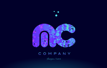 mc alphabet pink blue bubble circle dots logo icon design template