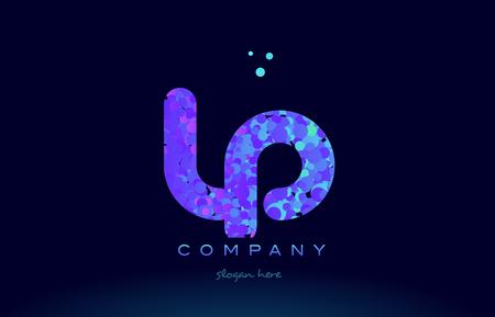 lp alphabet pink blue bubble circle dots logo icon design template Illustration