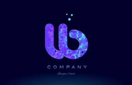 lb アルファベット ピンク ブルー バブル サークル ドット ロゴ アイコン デザイン テンプレート