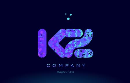 kz: kz alphabet pink blue bubble circle dots logo icon design template Illustration