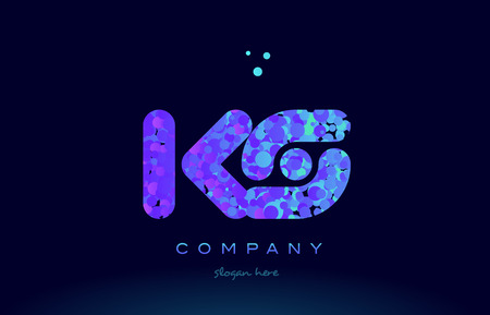 ks alphabet pink blue bubble circle dots logo icon design template