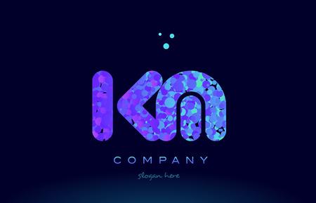 km alphabet pink blue bubble circle dots logo icon design template Stock Vector - 76661687