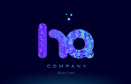hq h q alphabet pink blue bubble circle dots creative letter company logo vector icon design template
