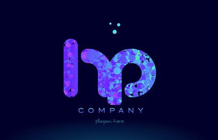 hp h p alphabet pink blue bubble circle dots creative letter company logo vector icon design template