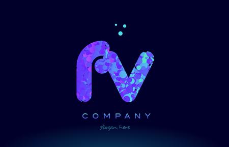 fv: fv f v alphabet pink blue bubble circle dots creative letter company logo vector icon design template Illustration