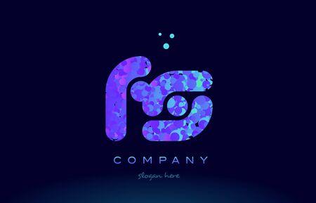 fs alphabet pink blue bubble circle dots logo icon design template Ilustração