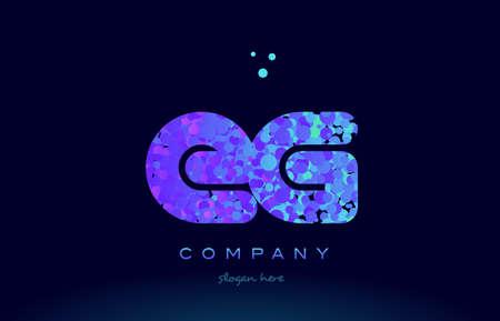 eg: eg alphabet pink blue bubble circle dots logo icon design template