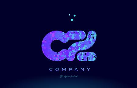 cz: cz alphabet pink blue bubble circle dots logo icon design template