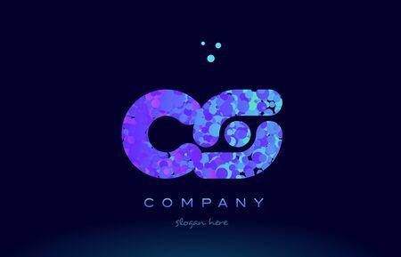 cs: cs alphabet pink blue bubble circle dots logo icon design template