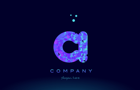 ci alphabet pink blue bubble circle dots logo icon design template Illustration