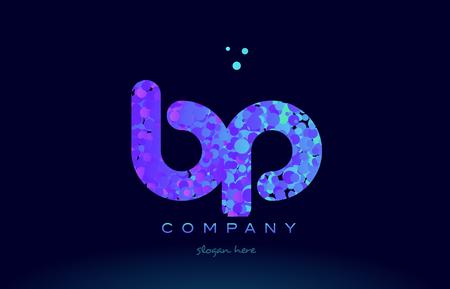 bp alphabet pink blue bubble circle dots logo icon design template