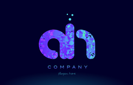 ah alphabet pink blue bubble circle dots logo icon design template Illustration
