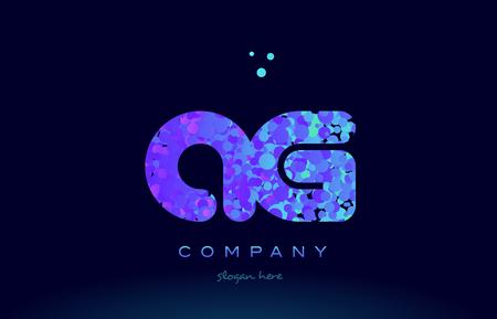 ag alphabet pink blue bubble circle dots logo icon design template